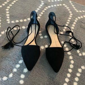 Gianni Bini Black Lace-Up Flats